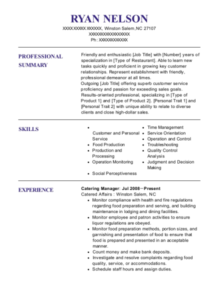 Catering Manager resume example North Carolina