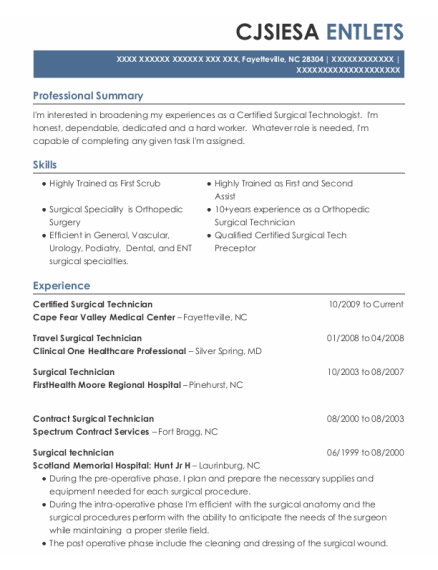 Certified Surgical Technician resume sample North Carolina