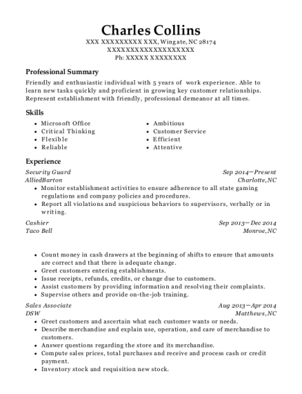 Security Guard resume format North Carolina