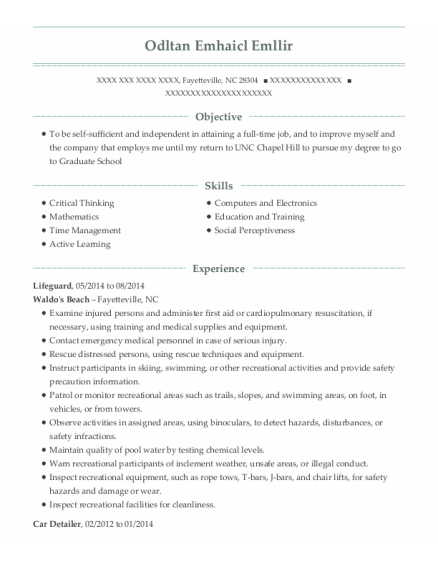 Lifeguard resume format North Carolina