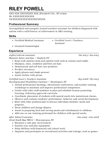 stylist resume template North Carolina