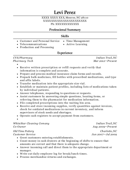 Pharmacy Tech resume template North Carolina