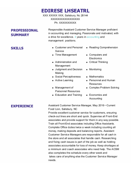 Assistant Customer Service Manager resume example North Carolina