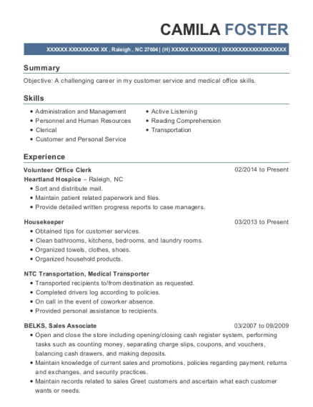 Volunteer Office Clerk resume template North Carolina