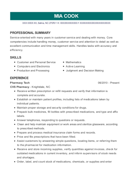 Pharmacy Tech resume example North Carolina