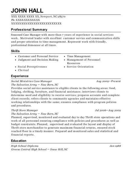 Social Ministries Case Manager resume template North Carolina