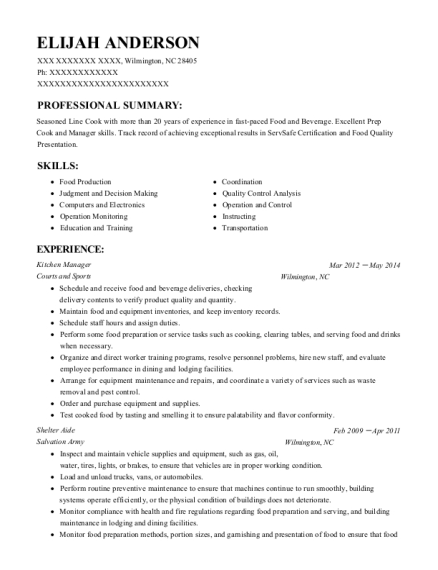 Kitchen Manager resume template North Carolina