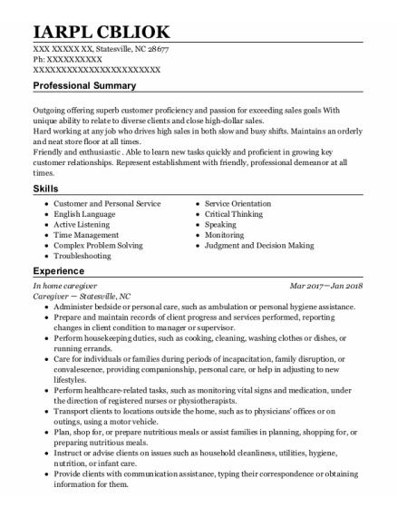 In Home Caregiver resume template North Carolina