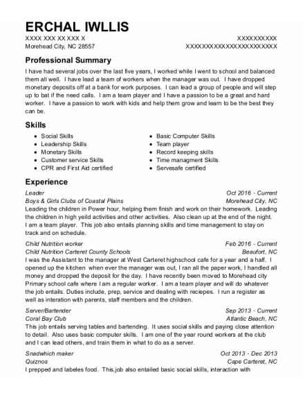 Leader resume template North Carolina