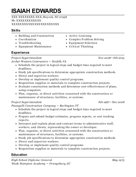 Project Superintendent resume format North Carolina