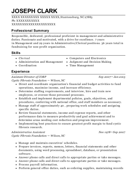 Assistant Director of CORP resume format North Carolina