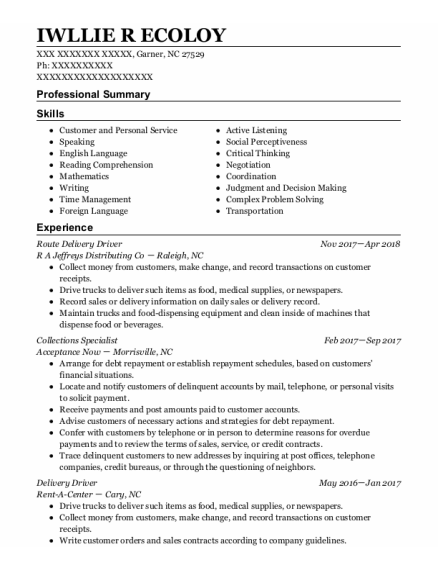 Route Delivery Driver resume sample North Carolina