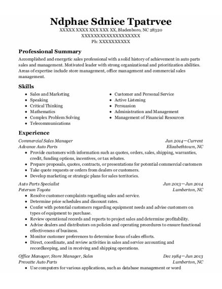 Commercial Sales Manager resume sample North Carolina