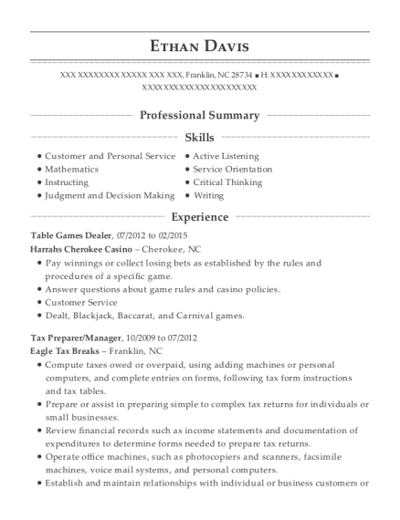Table Games Dealer resume example North Carolina
