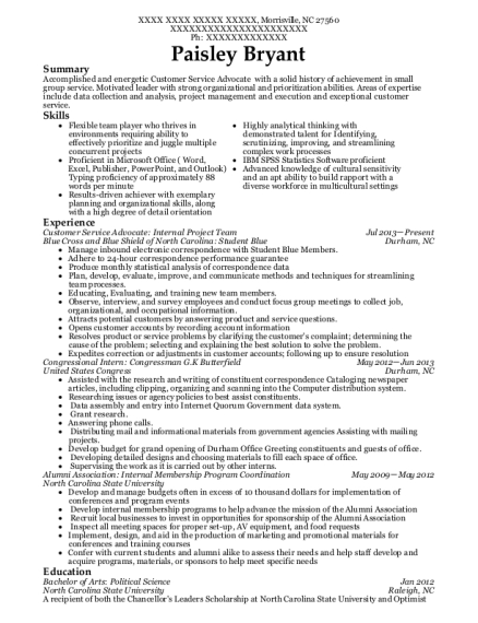 Customer Service Advocate Internal Project Team resume example North Carolina