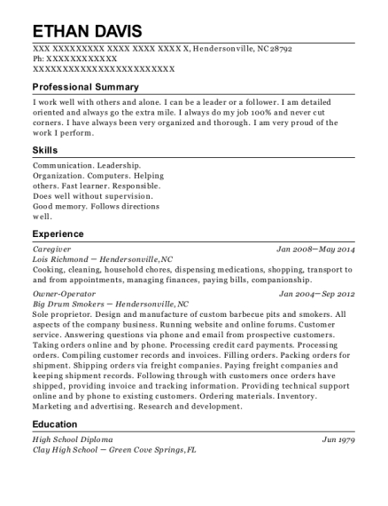 Caregiver resume sample North Carolina