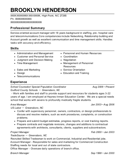 School Counselor resume format North Carolina