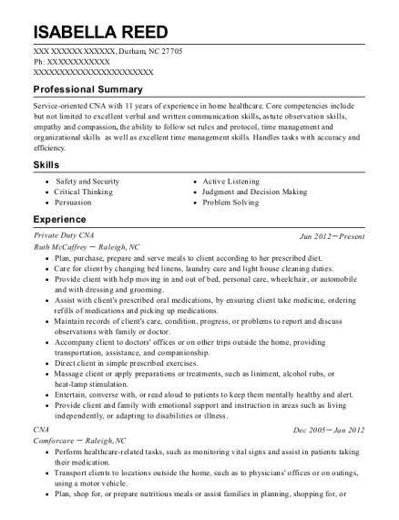 Private Duty CNA resume format North Carolina