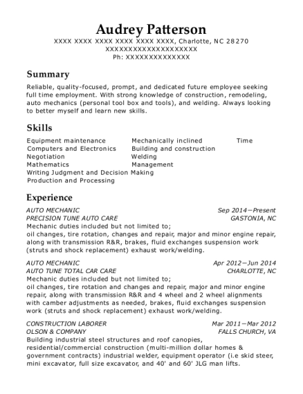 AUTO MECHANIC resume format North Carolina