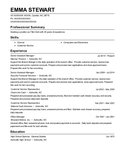 Senior Assistant Manager resume sample North Carolina