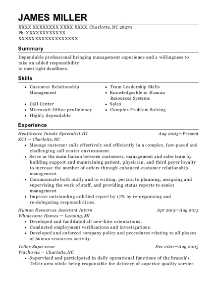 Healthcare Intake Specialist III resume template North Carolina