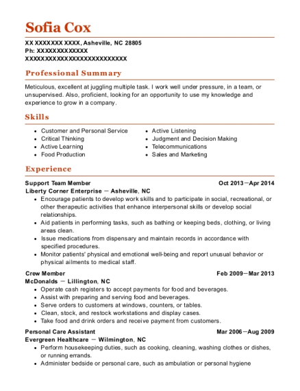 Support Team Member resume template North Carolina