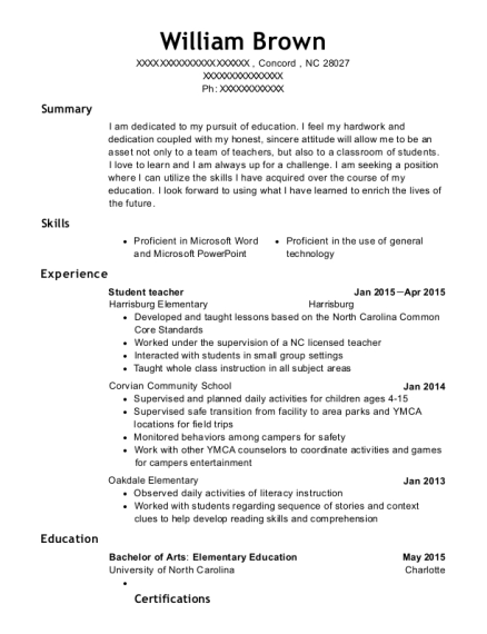 Student teacher resume format North Carolina