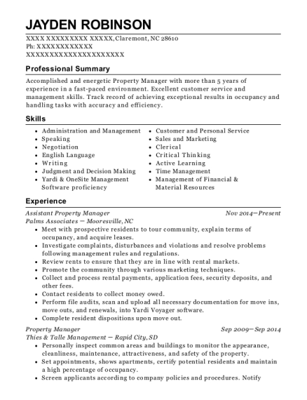 Assistant Property Manager resume example North Carolina