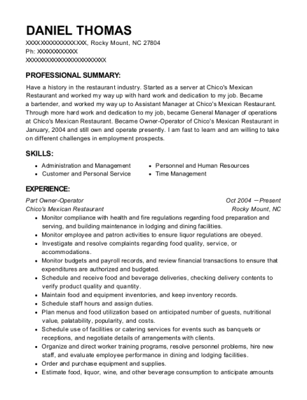 Part Owner Operator resume template North Carolina