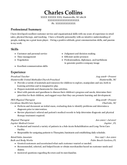 Preschool Teacher resume sample North Carolina