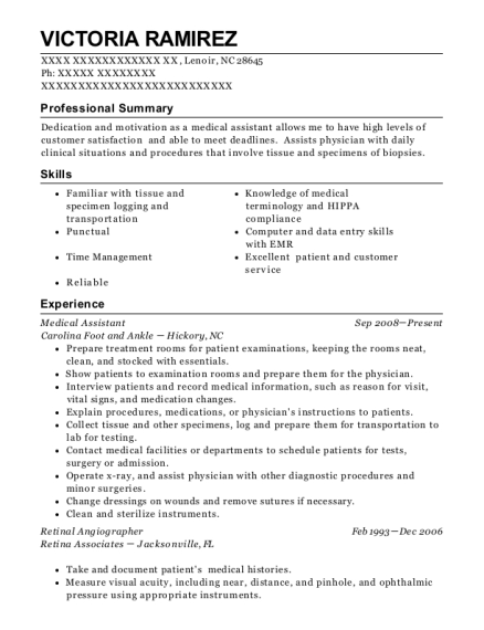 Medical Assistant resume sample North Carolina