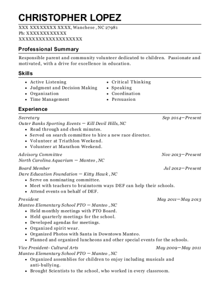 Secretary resume template North Carolina