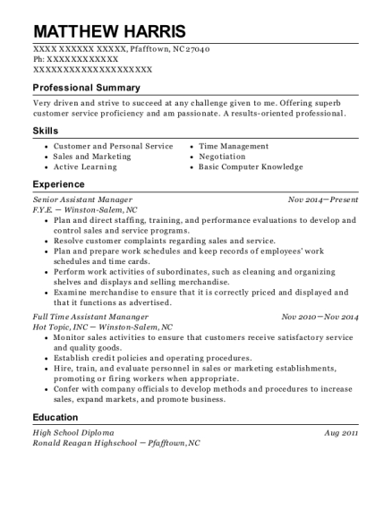 Senior Assistant Manager resume template North Carolina