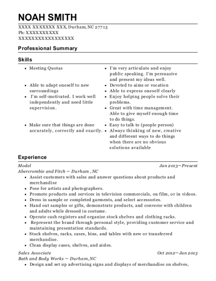 Model resume format North Carolina