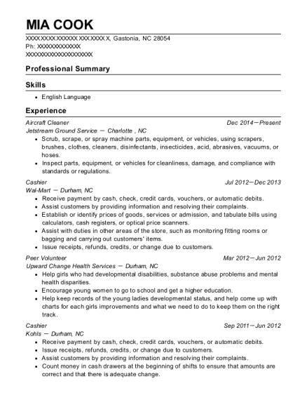 Aircraft Cleaner resume format North Carolina