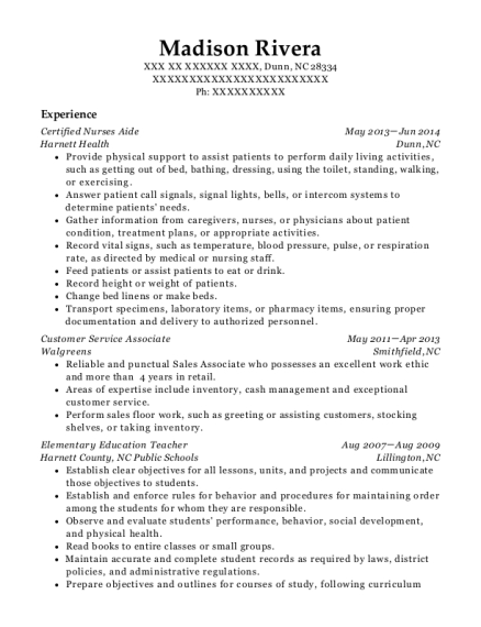 Certified Nurses Aide resume example North Carolina