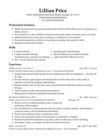 Administrative Assistant I resume template North Carolina