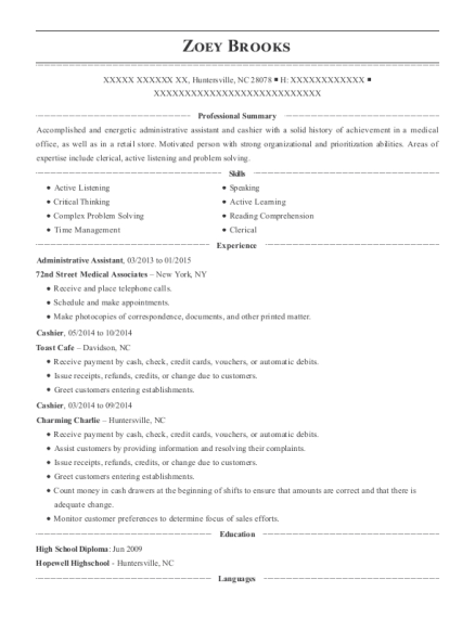 Administrative Assistant resume sample North Carolina