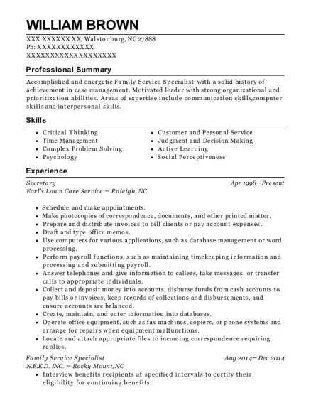 Secretary resume example North Carolina