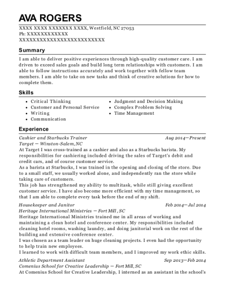 Cashier and Starbucks Trainer resume example North Carolina