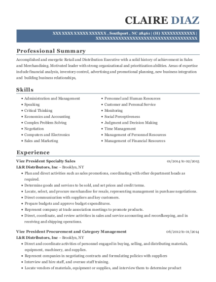 Vice President Specialty Sales resume template North Carolina
