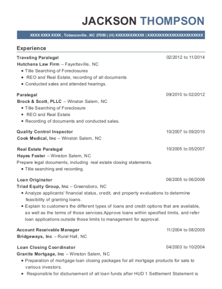 Traveling Paralegal resume format North Carolina