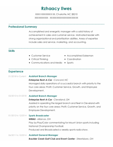 Assistant Branch Manager resume example North Carolina