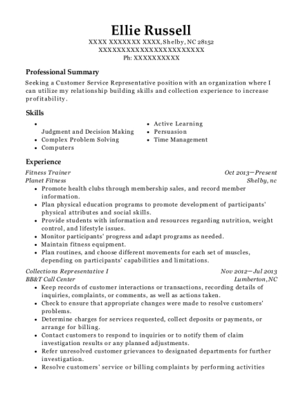 Fitness Trainer resume example North Carolina