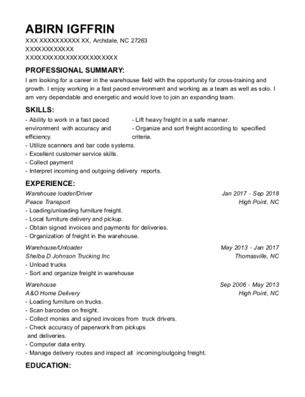 Harrington Bottling Company Warehouse Loader Resume Sample