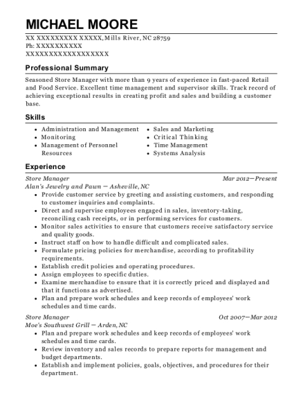 Store Manager resume template North Carolina