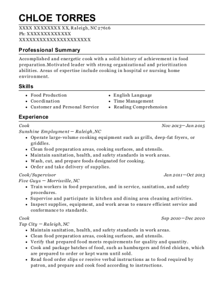 Cook resume format North Carolina