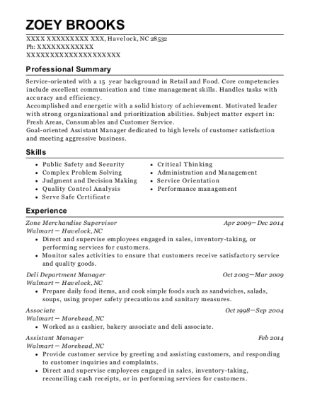 Zone Merchandise Supervisor resume format North Carolina