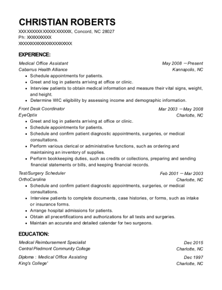 Medical Office Assistant resume example North Carolina
