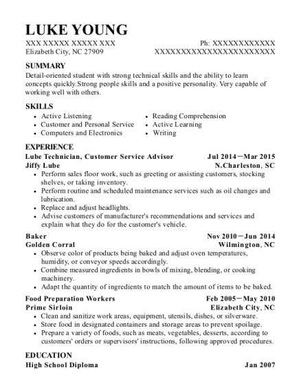 Lube Technician resume sample North Carolina